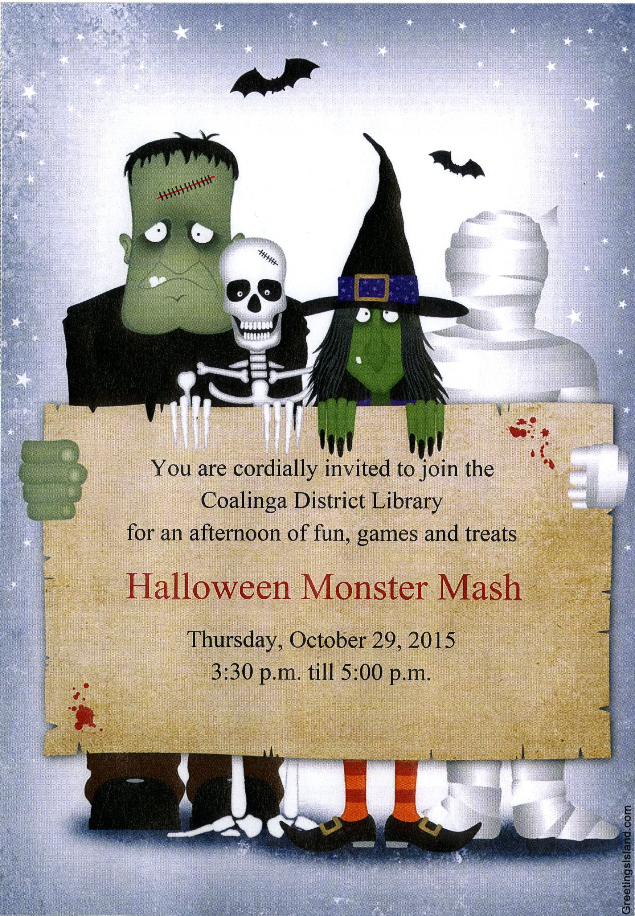 halloween monster mash - coalinga huron library district