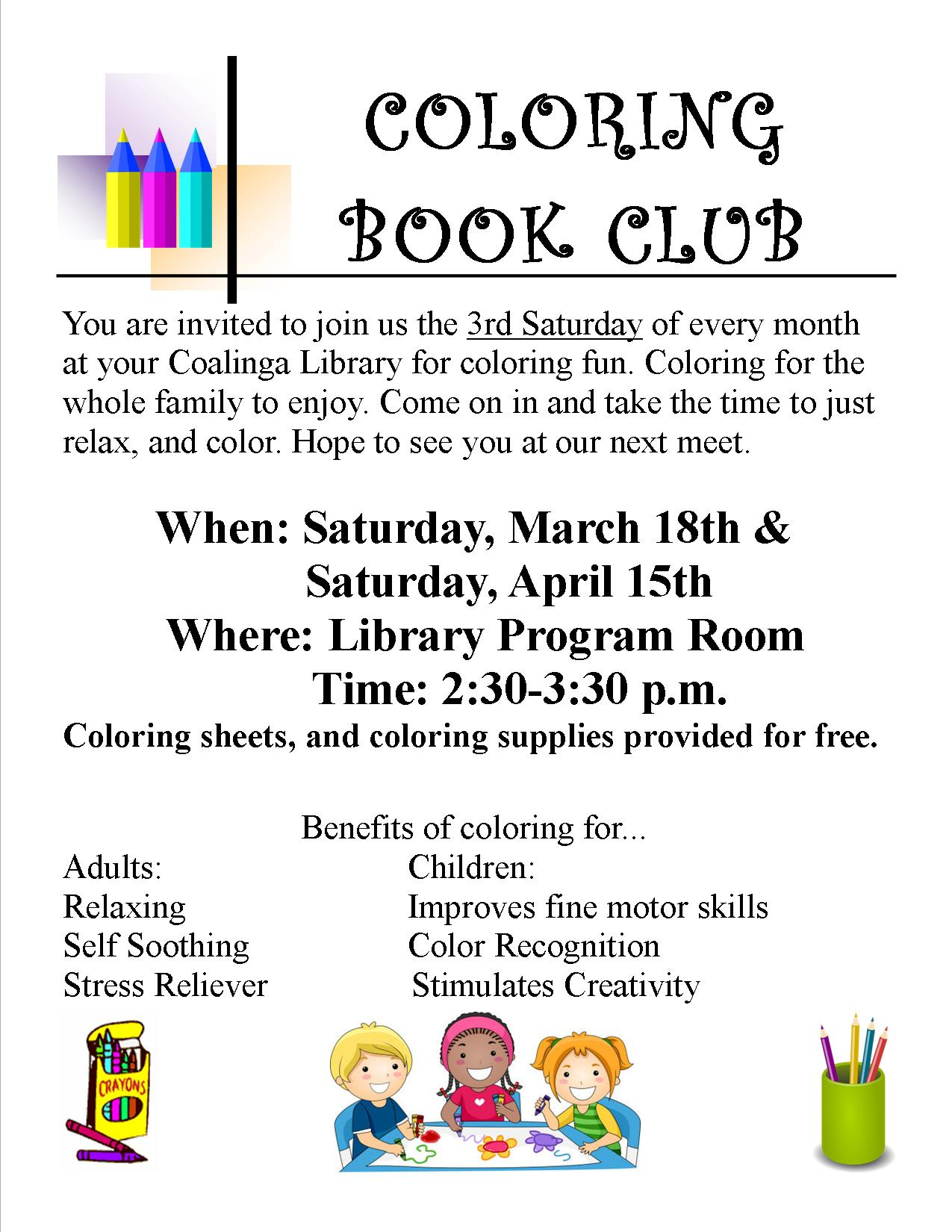 Coloring Book Club March and April Coalinga Huron Library District