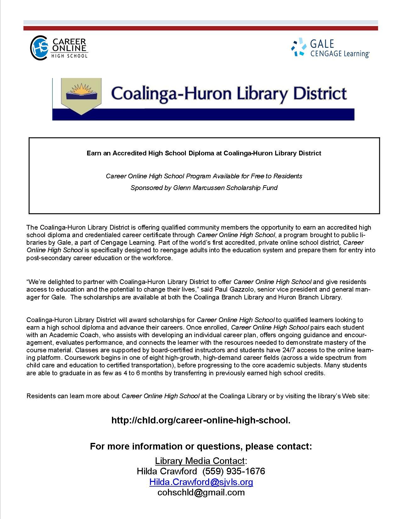 Earn An Accredited High School Diploma At Coalinga Huron Library