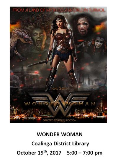 October Movie Wonder Woman at the Library - Coalinga
