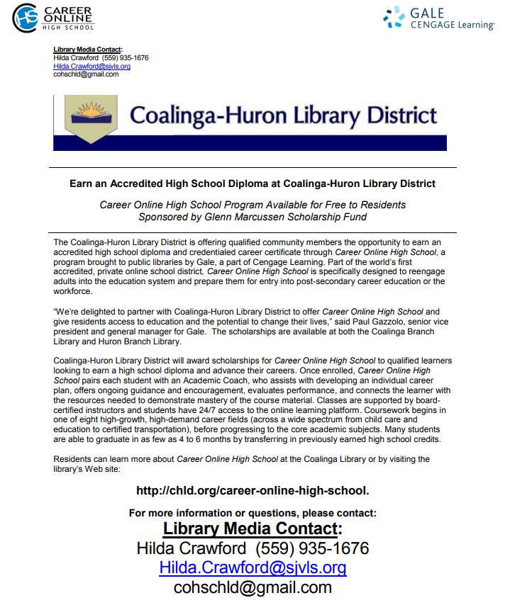 Earn An Accredited High School Diploma At The Coalinga Huron Library
